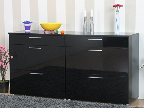 2x kommode infiniti sideboard schubladen flur schrank m bel hochglanz schwarz m bel24. Black Bedroom Furniture Sets. Home Design Ideas
