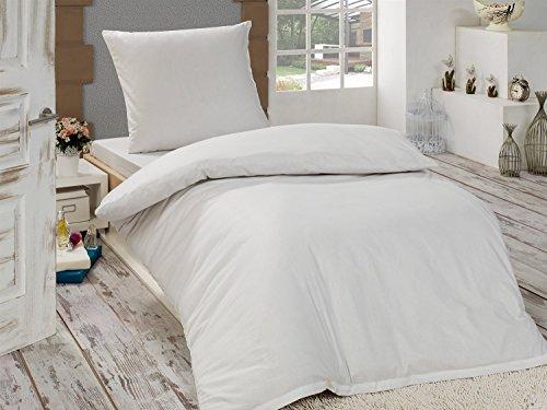 4-Teilige hochwertige Renforcé-Bettwäsche UNI in Weiss 2x 135x200 Bettbezug + 2x 80x80 Kissenbezug , 100% Baumwolle