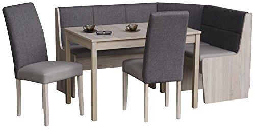 5.5.4.6.2777: Küchen-Eckbankgruppe - teilmassiv sonoma Eiche - Eckbank, Auszugstisch und 2 Stühle