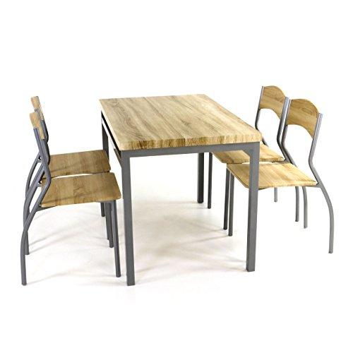 5tlg Küchenset, Esszimmerset, Sitzgruppe, 5 teilige Essgruppe, 1 Esszimmertisch 4 geschwungene Stühle geschmackvolles Design, Tisch 110 x 70 cm, Stahl pulverbeschichtet, MDF-Platte