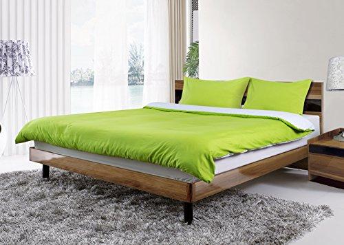 Adam Linens Luxus 4PCS komplett wendbar Bettbezug und Spannbettlaken, Bettwäsche-Set, Polyester, Grün / Weiß, Doppelbett