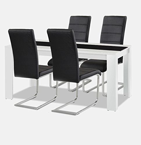 Agionda Esstisch + Stuhlset : 1 x Esstisch Jamaika + 4 Freischwinger schwarz