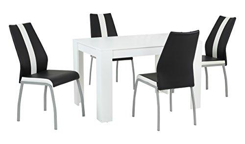 Essgruppe Trixi Set 4-teilig, Tisch Weiß + 4 Stühle Schwarz, B120 x T80 x H76 cm  Apollo