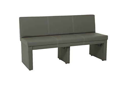 sitzbank vanessa mit lehne 3 sitzer holzgestell gepolstert bezug kunstleder schlamm 151 x 56. Black Bedroom Furniture Sets. Home Design Ideas
