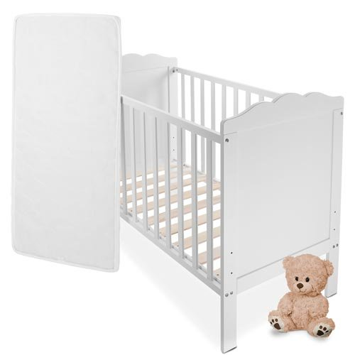 babybett kinderbett komplettbett in weiss mit lattenrost. Black Bedroom Furniture Sets. Home Design Ideas