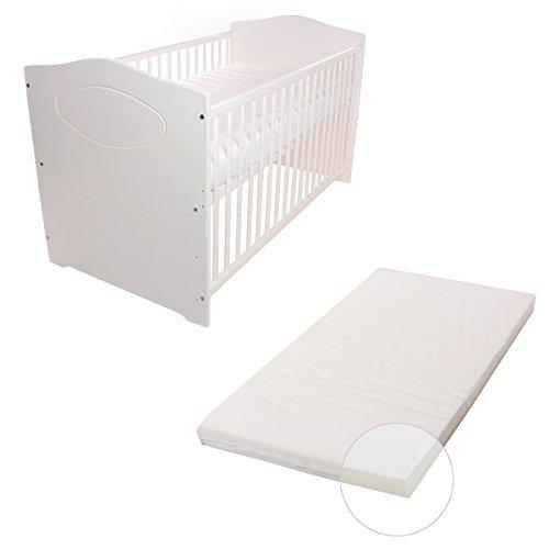 babybett bett kinderbett jugendbett 140x70 cm umbaubar babyblume kuba wei inkl. Black Bedroom Furniture Sets. Home Design Ideas