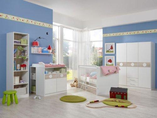 "Babyzimmer Komplett Set ""KIMBA"" 6tlg Bett Wickelkommode gr. Schrank Regal Eiche-Sägerau"
