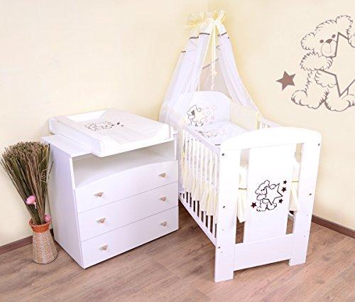 Babyzimmer sparset incl. Babybett , Wickelkommode , Ausstattung - Komplettset (creme)