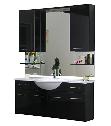 badezimmer m bel set apollo bad schrank spiegel schwarz. Black Bedroom Furniture Sets. Home Design Ideas