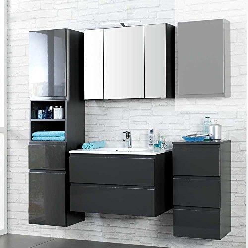 badm bel set mit 3d spiegelschrank anthrazit hochglanz 4 teilig breite 180 cm pharao24 m bel24. Black Bedroom Furniture Sets. Home Design Ideas
