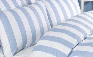 Bettwäsche Bettbezug Set Blau Weiss weiß Gestreiften 100% Baumwolle Kissenbezug Bettdecke, 200x200 140x200 230x220 260x220 (2 x Kopfkissenbezug)