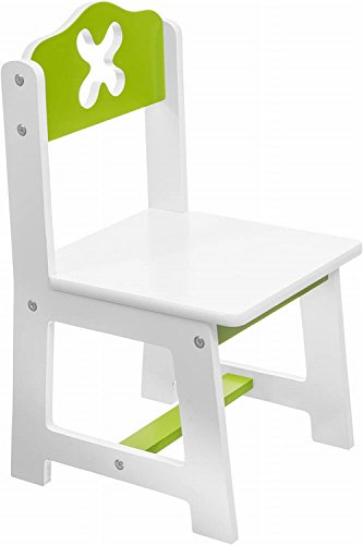 Bieco 79199202 - Kinder Stuhl weiß/grün Sitzfläche, ca. 26 x 26 cm