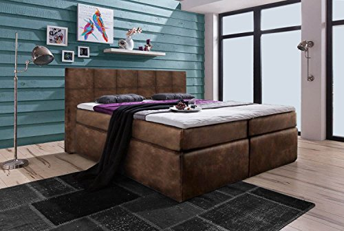 boxspring bett boxspring system springbox bett kunst leder matratzen topper liegefl che 180. Black Bedroom Furniture Sets. Home Design Ideas