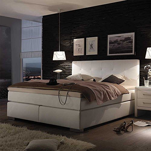 boxspringbett in wei tonnentaschenfederkern inkl 1 tonnentaschenfederkern h2 1 in h3 pharao24 0. Black Bedroom Furniture Sets. Home Design Ideas