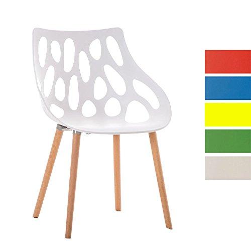 CLP Design Retrostuhl HAILEY mit pflegeleichter Kunststoff-Sitzschale und einer Sitzhöhe von 44 cm | Esszimmerstuhl mit Lehne und einem Vier-Fuß-Gestell aus Buchenholz | Besucherstuhl mit einer maximalen Belastbarkeit von 150 kg Weiß