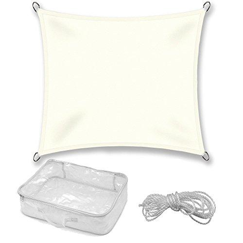 Sonnensegel Sonnenschutz Garten | UV-Schutz PES Polyester wasser-abweisend imprägniert | CelinaSun 0010543 | Quadrat 3 x 3 m creme-weiß