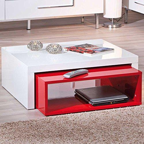 Design Couchtisch In Weiß Rot Hochglanz Modern (2-teilig