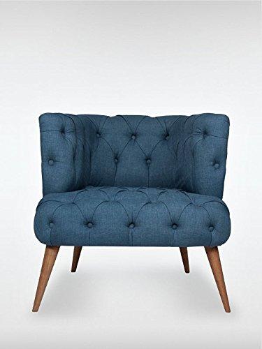 Designer Retro Sessel Polstersessel PALO ALTO 75 x 76 x 80 cm Loungesessel blau