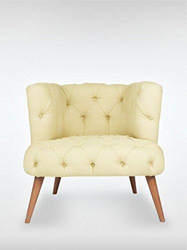 Designer Retro Sessel Polstersessel PALO ALTO 75 x 76 x 80 cm Loungesessel creme
