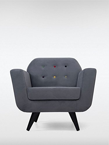 Designer Retro Sessel Cocktailsessel FLOWER 90 x 82 x 84 cm Loungesessel in grau mit bunten Polsterknöpfen