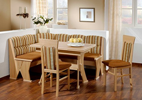 Dreams4Home Eckbankgruppe 'Amapa' Essgruppe 167 x 127 x 84 cm Tisch 2 Stühle modern Buche teilmassiv braun Eckbank Küchentisch 4-teilig Landhaus Küche