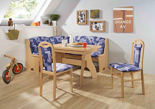 Dreams4Home Eckbankgruppe 'Baker' Essgruppe 170 x 130 x 89 cm Tisch 2 Stühle modern Buche blau Eckbank Küchentisch 4-teilig Landhaus Küche