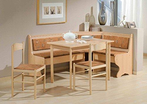 Dreams4Home Eckbankgruppe 'Caro' Essgruppe 166 x 126 x 83 cm Tisch 2 Stühle modern Buche Dekor terracotta Eckbank Küchentisch 4-teilig Landhaus Küche