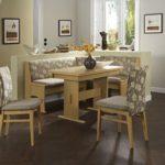 Dreams4Home Eckbankgruppe 'Ebini' Essgruppe 167 x 128 x 87 cm Tisch 2 Stühle modern Buche Dekor beige Eckbank Küchentisch 4-teilig Landhaus Küche