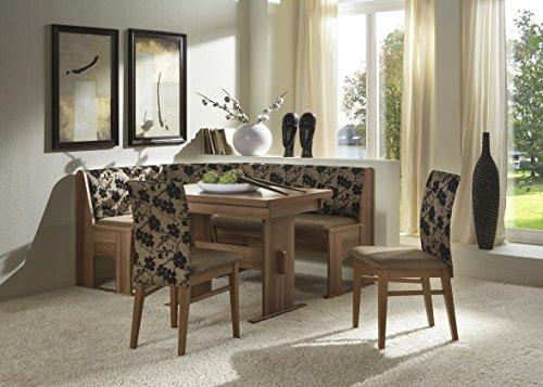 Dreams4Home Eckbankgruppe 'Ituni' Essgruppe 167 x 128 x 87 cm Tisch 2 Stühle modern Walnuss Dekor schwarz braun Eckbank Küchentisch 4-teilig Landhaus Küche