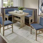 Dreams4Home Eckbankgruppe 'Java' Essgruppe 167 x 128 x 87 cm Tisch 2 Stühle modern Sonoma Eiche Dekor hellblau Eckbank Küchentisch 4-teilig Landhaus Küche