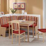 Dreams4Home Eckbankgruppe 'Lely' Essgruppe 170 x 130 x 89 cm Tisch 2 Stühle modern Buche Dekor rot Eckbank Küchentisch 4-teilig Landhaus Küche