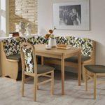 Dreams4Home Eckbankgruppe 'Leola' Essgruppe 170 x 130 x 90,5 cm Tisch 2 Stühle modern Buche Sitz Uni braun floral Eckbank Küchentisch 4-teilig Landhaus Küche