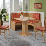 Dreams4Home Eckbankgruppe 'Lori' Essgruppe 125 x 125 x 93 cm Tisch 2 Stühle modern Buche Dekor terracotta Eckbank Küchentisch 4-teilig Landhaus Küche