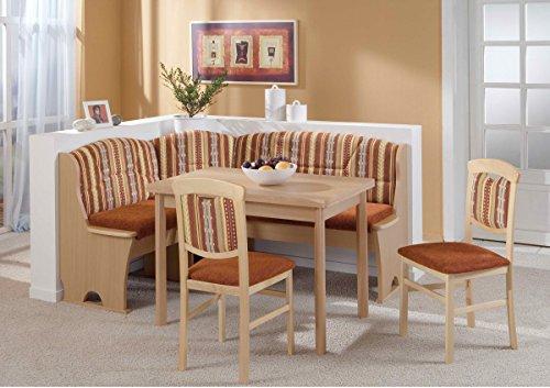Dreams4Home Eckbankgruppe 'Mana' Essgruppe 170 x 130 x 89 cm Tisch 2 Stühle modern Buche Dekor braun Eckbank Küchentisch 4-teilig Landhaus Küche