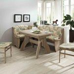 Dreams4Home Eckbankgruppe 'Parika' Essgruppe 170 x 130 x 89 cm Tisch 2 Stühle modern Sonoma Eiche Dekor grün beige Eckbank Küchentisch 4-teilig Landhaus Küche