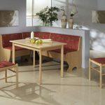 Dreams4Home Eckbankgruppe 'Rio' Essgruppe 159 x 119 x 79 cm Tisch 2 Stühle modern Buche Dekor rot Eckbank Küchentisch 4-teilig Landhaus Küche