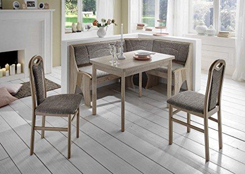 Dreams4Home Eckbankgruppe 'Tepic' Essgruppe 167 x 127 x 85 cm Tisch 2 Stühle modern Sonoma Eiche Dekor grau beige Eckbank Küchentisch 4-teilig Landhaus Küche
