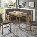 Dreams4Home Eckbankgruppe 'Toco' Essgruppe 167 x 127 x 85 cm Tisch 2 Stühle modern Buche Dekor grau Eckbank Küchentisch 4-teilig Landhaus Küche