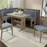 Dreams4Home Eckbankgruppe 'Vita' Essgruppe 167 x 128 x 87 cm Tisch 2 Stühle modern Sonoma Eiche hellblau blau Eckbank Küchentisch 4-teilig Landhaus Küche