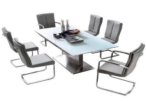 Dreams4Home Essgruppe Balia Tischgruppe Glasplatte MDF Hochglanz weiß Esstisch ausziehbar 6 x Freischwinger, grau