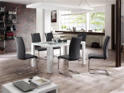 Dreams4Home Essgruppe Belga Tischgruppe MDF Esstisch weiß 6 x Freischwinger, grau