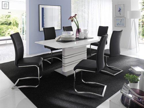 Dreams4Home Essgruppe Fulia Tischgruppe MDF Hochglanz Esstisch weiß 6 x Freischwinger, schwarz