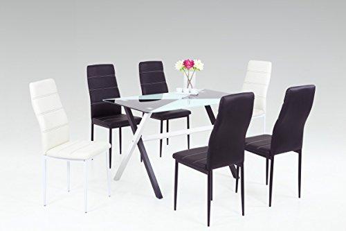 Dreams4Home Essgruppe 'Jade' 7-teilig, Tischgruppe, Esstisch, Stuhl, Küche, Esszimmer, (B/T/H) ca. 120 x 70 x 75 cm, in schwarz/weiß/Glasoptik