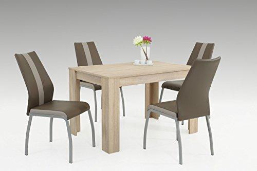 Dreams4Home Essgruppe 'Lorenzo' 5-teilig, Tischgruppe, Esstisch, Stuhl, Küche, Esszimmer, (B/T/H) ca. 120 x 80 x 76 cm, in Sonoma Eiche / latte