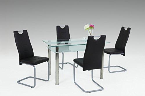 Dreams4Home Essgruppe 'Louna' 5-teilig, Tischgruppe, Esstisch, Stuhl, Küche, Esszimmer, (B/T/H) ca. 120 x 70 x 75 cm, in Klarglas / schwarz