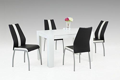 Dreams4Home Essgruppe 'Marko' 5-teilig, Tischgruppe, Esstisch, Stuhl, Küche, Esszimmer, (B/T/H) ca. 120 x 80 x 76 cm, in weiß/schwarz