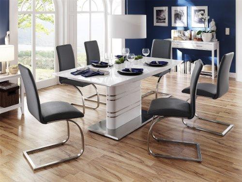 Dreams4Home Essgruppe Mona Tischgruppe Hochglanz weiß ausziehbar Esstisch 6 x Freischwinger, grau