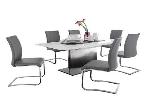 Dreams4Home Essgruppe Noble Tischgruppe MDF Hochglanz weiß Glasplatte ausziehbar 6 x Schwinger grau