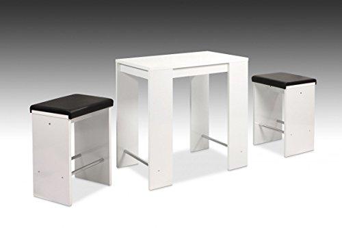 Dreams4Home Essgruppe 'Ricki' 5-teilig, Tischgruppe,Stehtischgruppe, Stehtisch,Barhocker, Küche, Esszimmer, (B/T/H) ca. 90 x 60 x 96 cm, in weiß Glanz