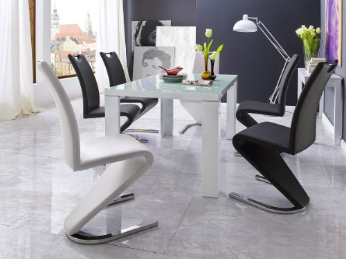 Dreams4Home Essgruppe Ronny Tischgruppe Glasplatte MDF Esstisch 6 x Freischwinger, weiß, schwarz
